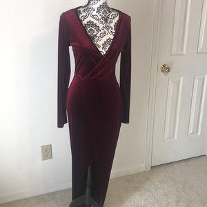 Maroon velvet maxi dress party evening dress